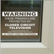 1 x These Premises are Protected by Closed Circuit Television-130mm-Worded-Window Stickers-Images are Recorded for Crime Prevention and Public Safety-24hr